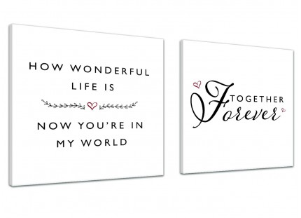 Canvas Pictures How Wonderful Life Is - Love - Word Art - 2s478s - 2 x 49cm Square Wall Art