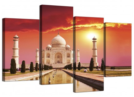 Taj Mahal Sunset Landscape Canvas - Multi 4 Part - 130cm - 4193