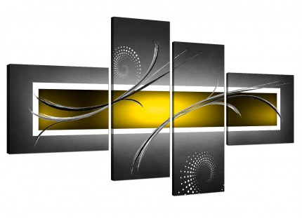 Yellow Grey White Modern Abstract Canvas - Split Set of 4 - 160cm - 4259