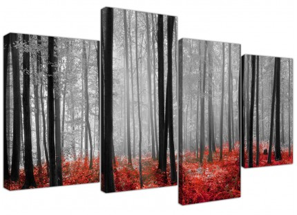 Black White Red Grey Forest Woodland Trees Canvas - Split 4 Piece - 130cm - 4236