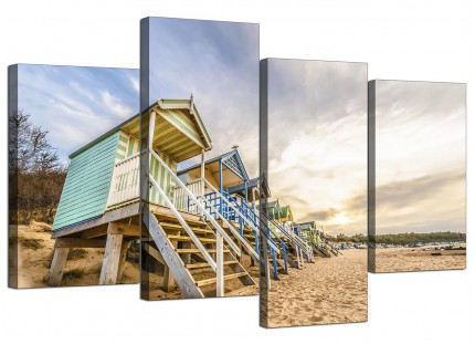 Beach Huts Scene Beach Canvas - Multi 4 Set - 130cm - 4200