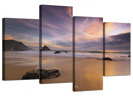 Panoramic Landscape Sunset Beach Canvas - Multi 4 Piece - 130cm - 4198