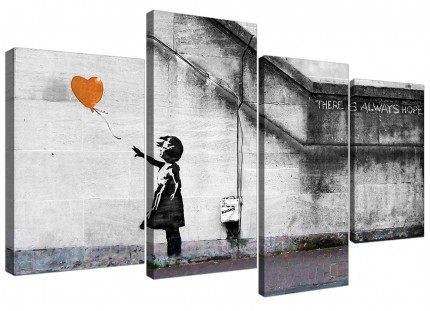 Banksy Balloon Girl Orange Heart Hope Canvas - Split Set of 4 - 130cm - 4225