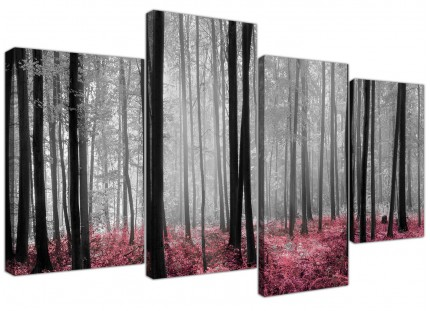 Black White Pink Grey Forest Woodland Trees Canvas - 4 Panel Set - 130cm - 4241