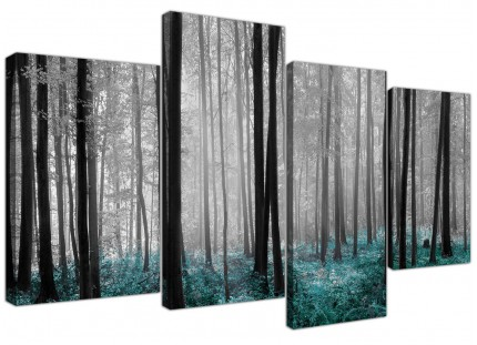 Teal Grey White Forest Woodland Trees Landscape Canvas - 4 Part - 130cm - 4242