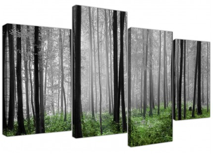 Black White Green Grey Forest Woodland Trees Canvas - Multi 4 Set - 130cm - 4239