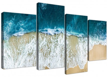 Panoramic Ocean Beach Scene Australia Beach Canvas - 4 Panel Set - 130cm - 4244