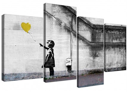 Banksy Balloon Girl Yellow Heart Hope Canvas - Split Set of 4 - 130cm - 4221