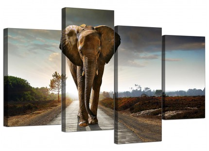 African Elephant - Modern Landscape Canvas - Multi 4 Part - 130cm - 4209