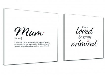 Mum - Word Art -Canvas Pictures  - 2s480s Black and White - Pair of 49cm Square Wall Art