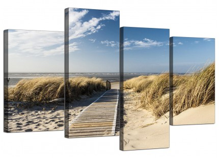 Pathway to the Ocean - Landscape Beach Canvas - Split 4 Part - 130cm - 4197