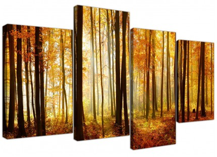 Orange Autumn Forest Scene Woodland Trees Canvas - Split 4 Part - 130cm - 4243