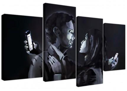 Banksy Mobile Lovers Canvas - Multi Set of 4 - 130cm - 4212