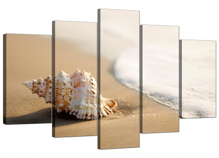 Sea Shells Shore Bathroom Cream Beige Beach XL Canvas - 5 Part - 160cm - 5146