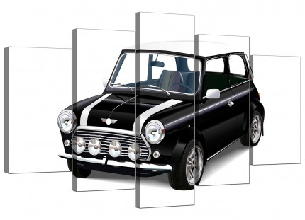 Extra Large Black White Mini Cooper Classic Car Canvas - 5 Set - 160cm - 5095