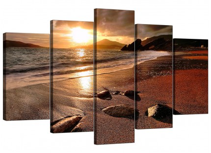 Sunset Beach Scene Golden Brown Landscape XL Canvas - 5 Part - 160cm - 5131