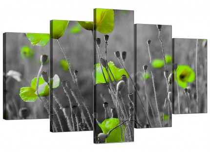 Lime Green Poppies Flower Grey Black Floral XL Canvas - 5 Set - 160cm - 5138