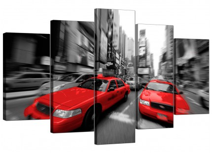 Red Black White Grey New York Taxi Cityscape XL Canvas - 5 Piece - 160cm - 5025