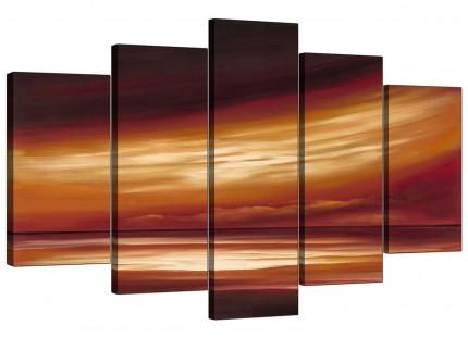 Brown Cream Abstract Sunset Modern Landscape XL Canvas - 5 Set - 160cm - 5147