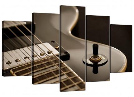 Black White Electric Guitar Gibson Music XL Canvas - 5 Part - 160cm - 5125