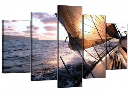 Sailing Yacht Boat Blue Ocean Sunset Landscape XL Canvas - 5 Set - 160cm - 5096