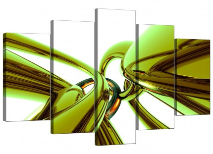 Extra Large Lime Green and White Neon Abstract Canvas - 5 Panel - 160cm - 5035