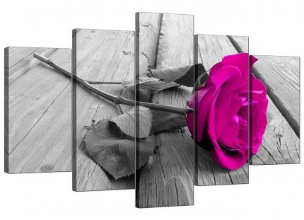 Pink Rose Grey Black White Flower Floral XL Canvas - 5 Panel - 160cm - 5036