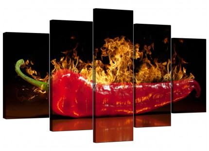 Red Hot Chilli Pepper Flaming Black Kitchen XL Canvas - 5 Piece - 160cm - 5132