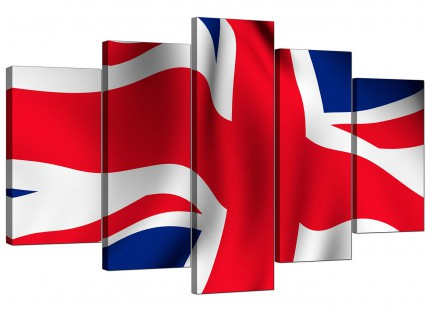 Red White Blue Union Jack Flag Abstract XL Canvas - 5 Part - 160cm - 5008