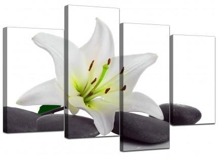 Black White Grey Lily Flower Stones Floral Canvas - Split 4 Piece - 130cm - 4024