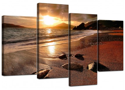 Sunset Beach Scene Golden Brown Landscape Canvas - Multi 4 Part - 130cm - 4131
