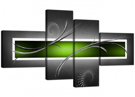 Lime Green White Grey Modern Design Abstract Canvas - 4 Piece - 160cm - 4093