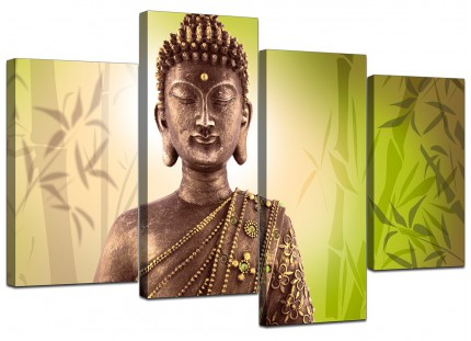 Abstract Buddha Lime Green Bamboo Zen Canvas - Split 4 Set - 130cm - 4100