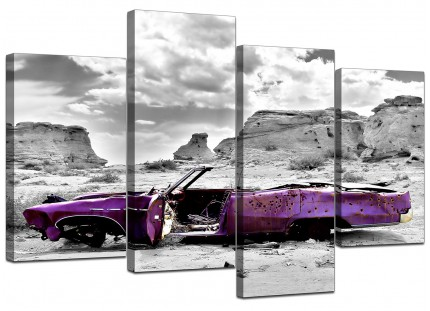 Abstract Purple Grey Car Desert Landscape Canvas - Split Set of 4 - 130cm - 4144