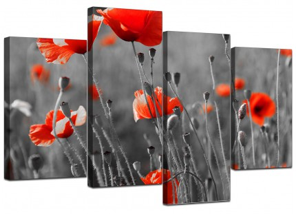 Red Poppy Black White Flower Poppies Floral Canvas - Split 4 Set - 130cm - 4135