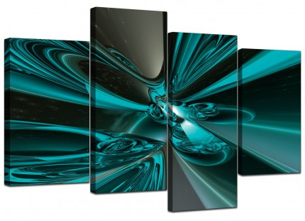 Teal and Grey Cyclone Abstract Canvas - Multi 4 Part - 130cm - 4017