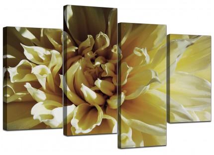 Cream Chrysanthemum Flower Floral Canvas - Split 4 Set - 130cm - 4104