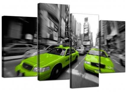 Lime Green Grey New York Taxi Cab Cityscape Canvas - Split 4 Set - 130cm - 4027