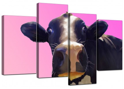 Colourful Funky Cow Pink Pop Art Canvas - Multi 4 Part - 130cm - 4151