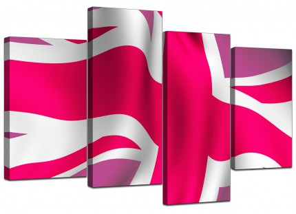 Pink White Union Jack Flag Abstract Canvas - Multi 4 Set - 130cm - 4012