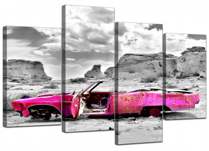 Pink Grey Black Abstract Desert Car Landscape Canvas - Set of 4 - 130cm - 4145