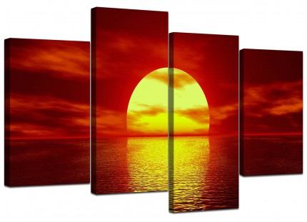 Red Yellow Sunset Ocean Sky Landscape Canvas - Multi 4 Part - 130cm - 4001