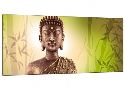 Large Abstract Buddha Lime Green Bamboo Zen Modern Canvas Art - 120cm - 1100