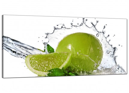 Large Lime Green White Fruit Splash Kitchen Modern Canvas Art - 120cm - 1057