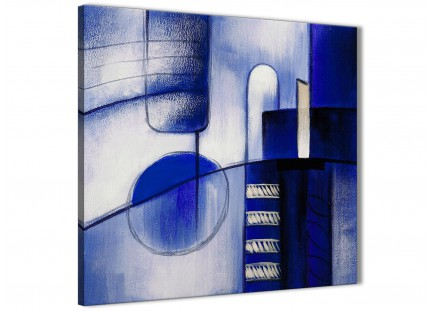 Indigo Blue Cream Painting Bathroom Canvas Wall Art Accessories - Abstract 1s418s - 49cm Square Print
