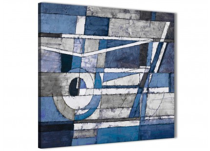 Indigo Blue White Painting Bathroom Canvas Wall Art Accessories - Abstract 1s404s - 49cm Square Print
