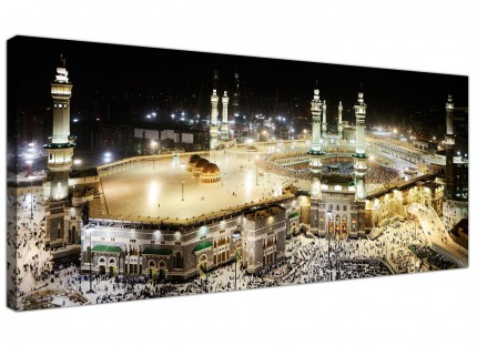 Large Islamic Canvas Art - Mecca at Night - Hajj Canvas Art - 120cm - 1190