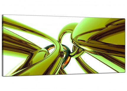 Large Lime Green and White Neon Abstract Modern Canvas Art - 120cm - 1035