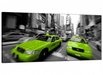 Large Lime Green Grey New York Taxi Cab Cityscape Canvas Art - 120cm - 1027