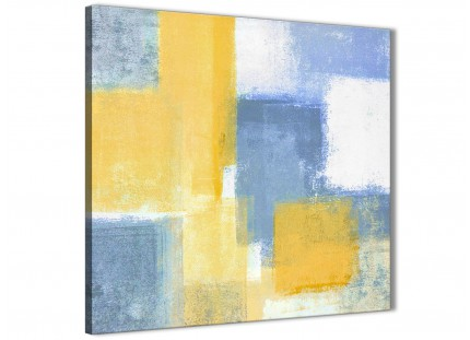 Mustard Yellow Blue Bathroom Canvas Wall Art Accessories - Abstract 1s371s - 49cm Square Print